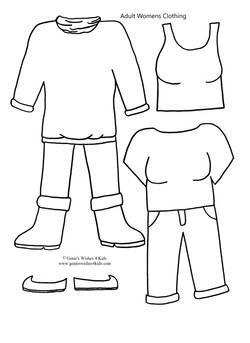 """Adult women's clothing for 9 3/4"""" paper doll"""
