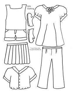 """Girls Clothing for 9 3/4"""" paper doll"""