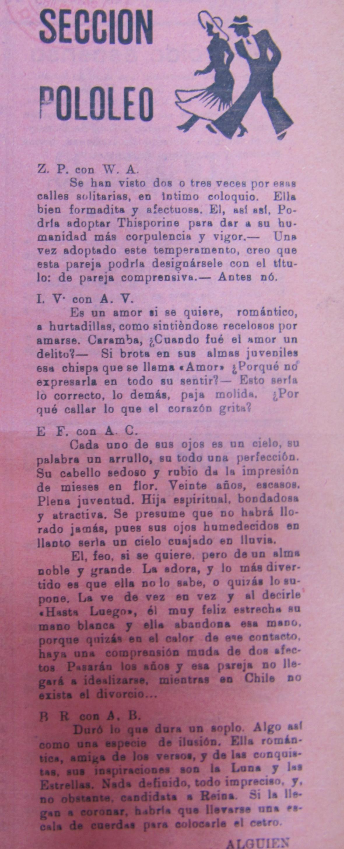 Sección Pololeo Revista La Vichuca, Domeyko (Oct.01,1937)