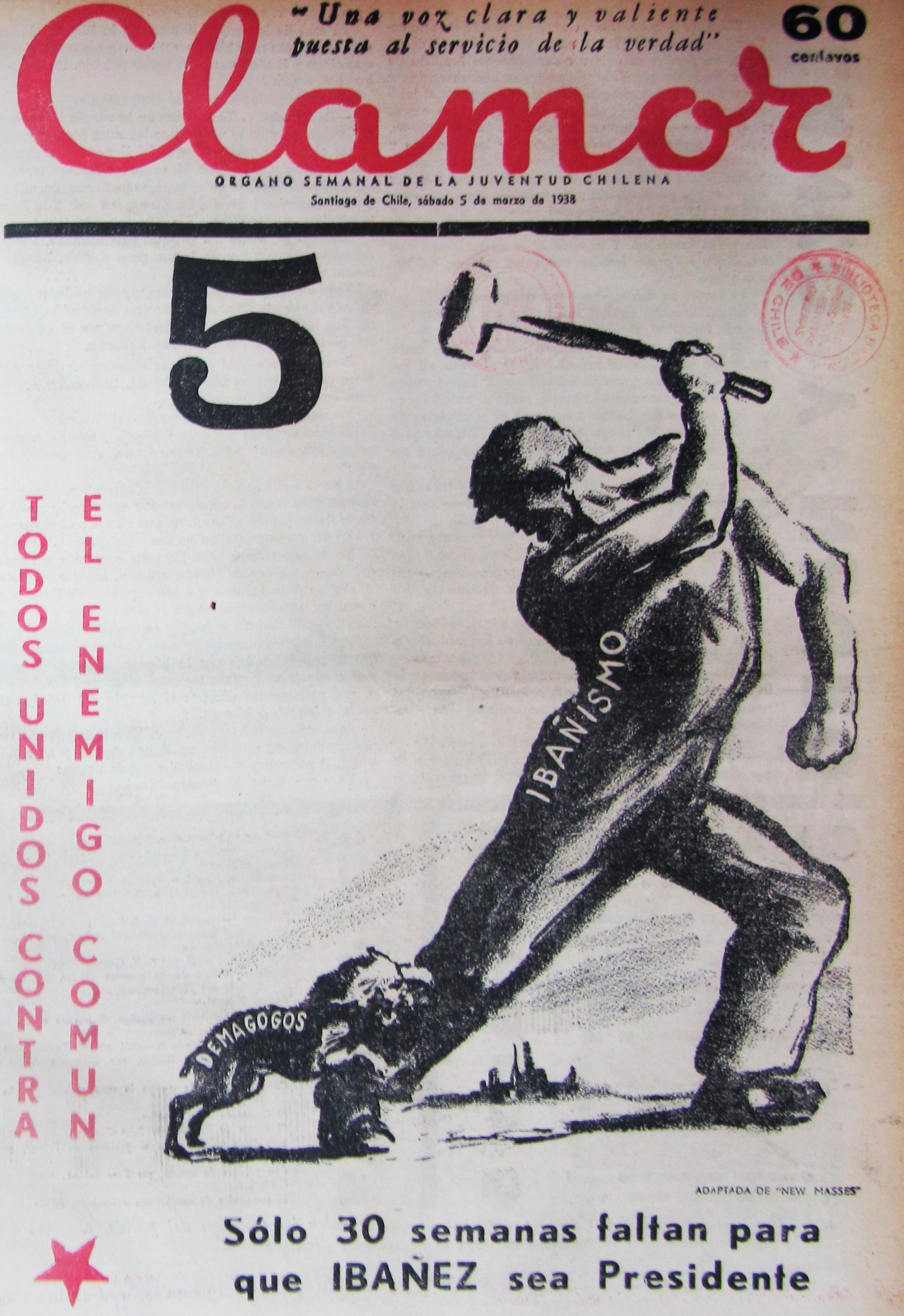 Portada Revista Clamor  (Mar.05,1938)