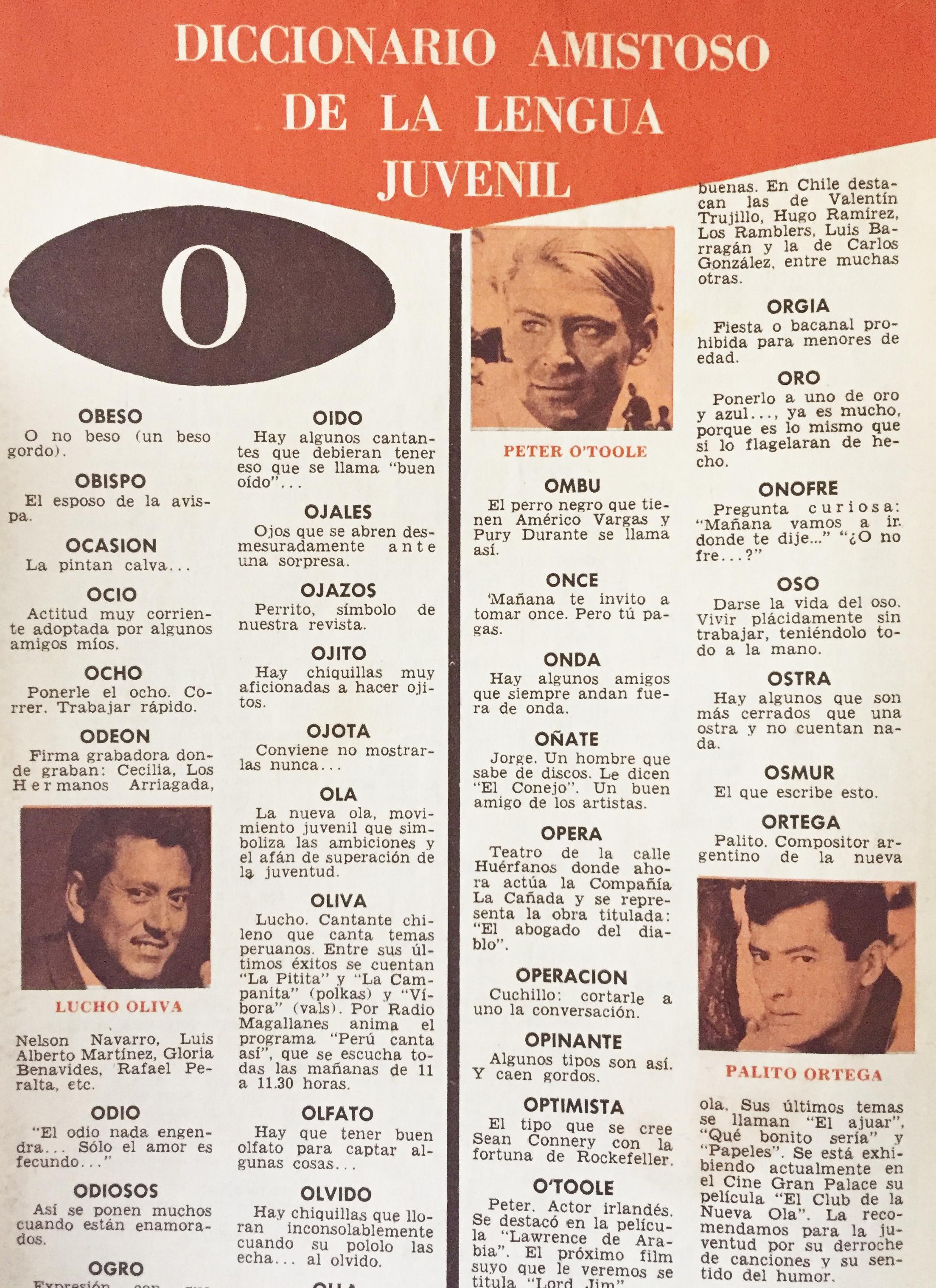 Sección Diccionario Amistoso De La Lengua Juvenil (1967)