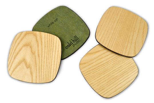 ash wood squarish coasters:  set of 4