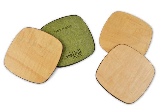 maple wood squarish coasters:  set of 6
