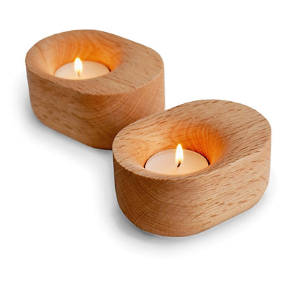 solid oak tealight holder
