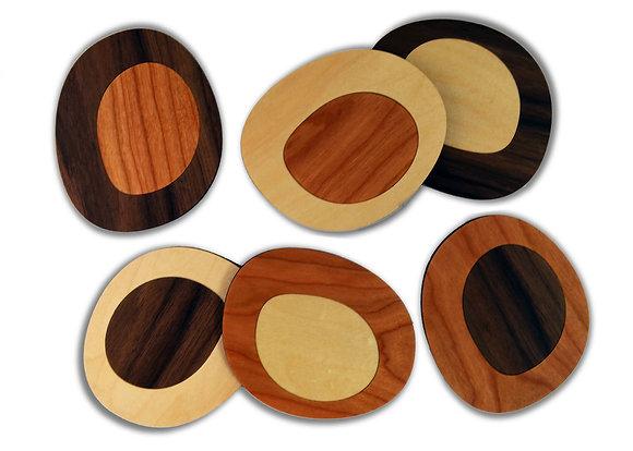 roundish coasters:  set of 6