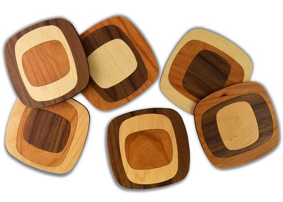 squarish coasters:  set of 6