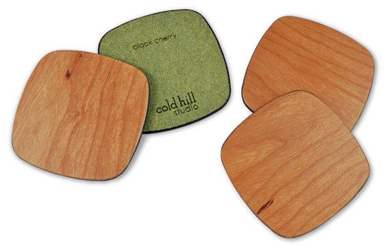 cherry wood squarish coasters:  set of6