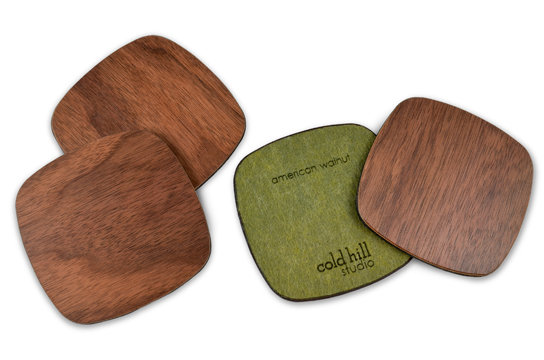 walnut wood squarish coasters:  set of 6