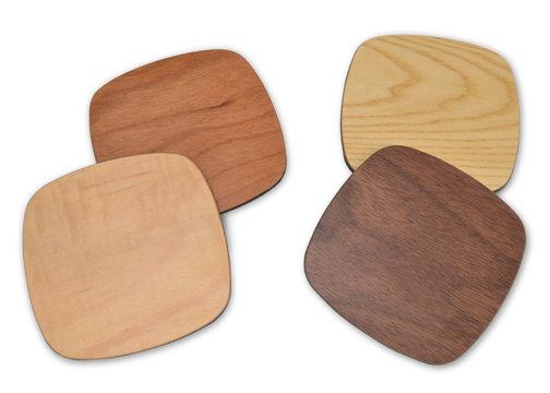 multi-wood squarish coasters:  set of 4