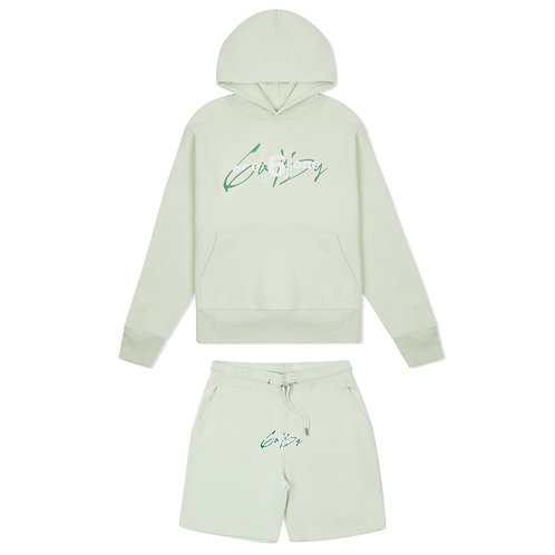 """6IX by ONE 6 ONE """"Pastel Green"""" Hoodie + Short Set"""