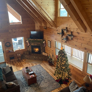 christmas tree and fireplace  at lodge f
