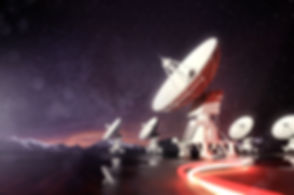 Radio telescopes searching for astronomical objects at night.jpg 3D illustration.jpg