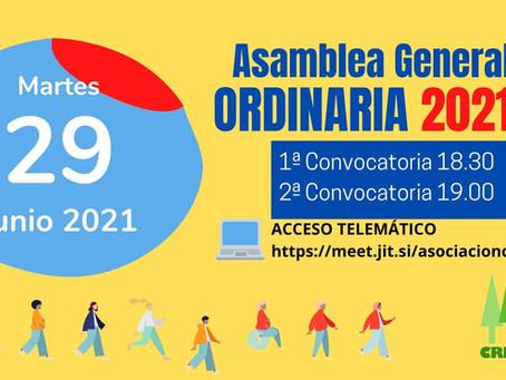 Convocatoria Asamblea CRECER 2021 ( Martes 29-06 )