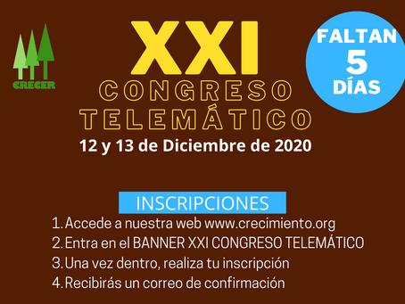 Faltan 5 días - XXI Congreso Telemático ( INSCRIPCIONES )