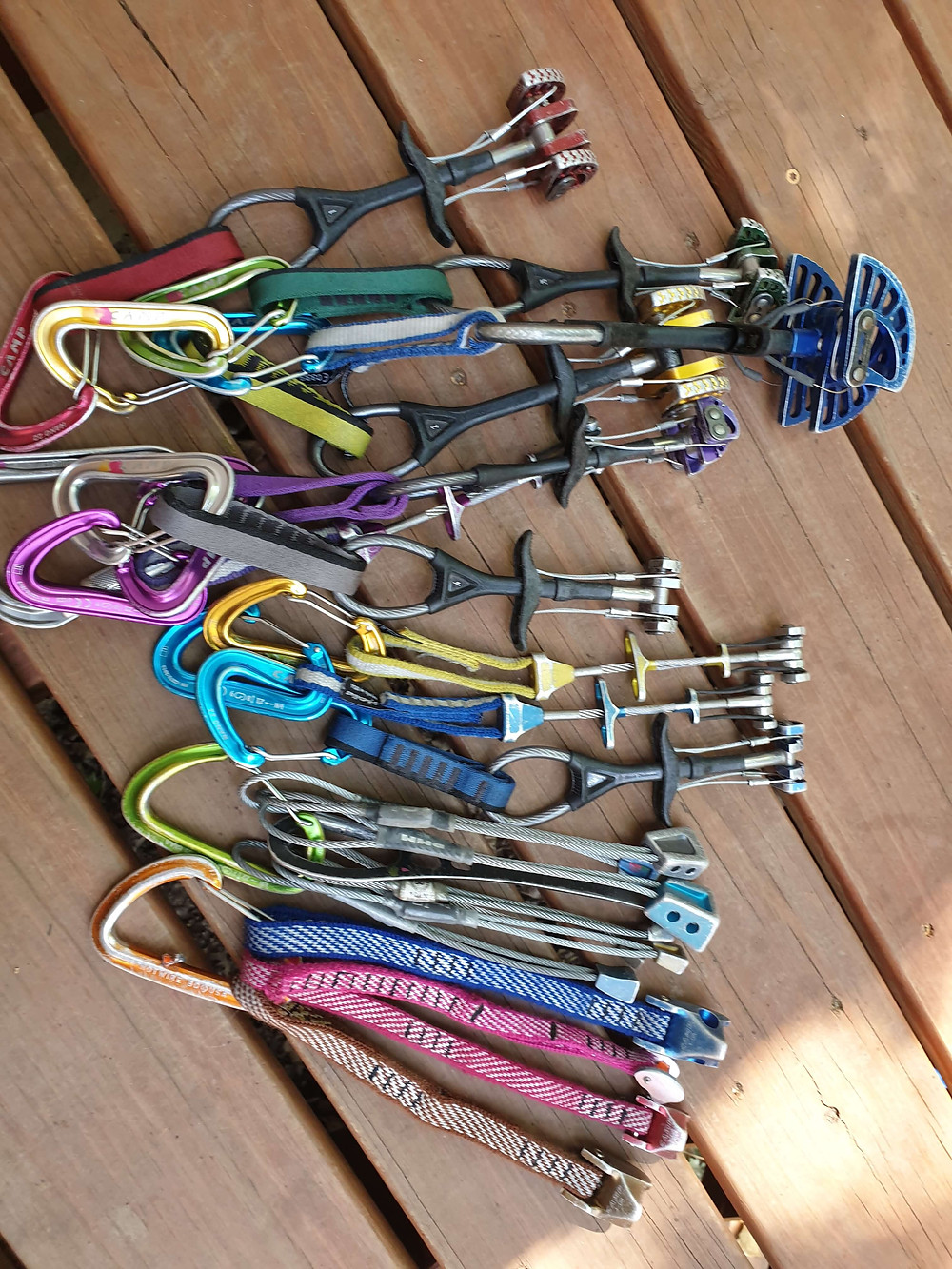 A trad rack from .1 to 3 as well as tri-cam's