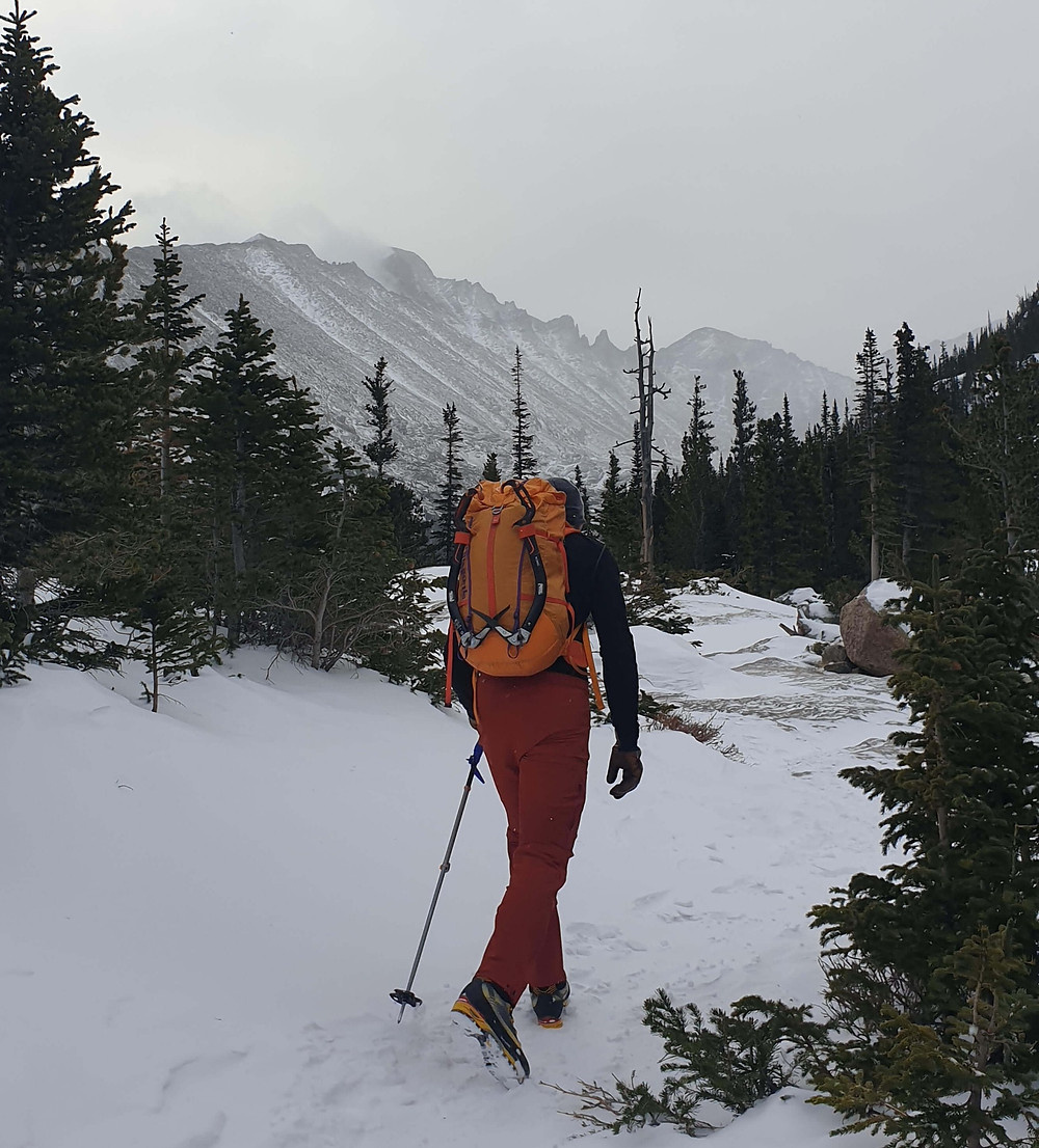 The approach to ice climb in RMNP.