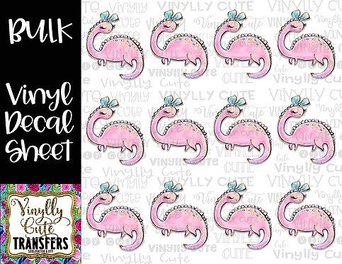 BULK ~ Girly Pink Dino With Bow ~ Vinyl Decal Sticker Sheet ~ Dinosaur