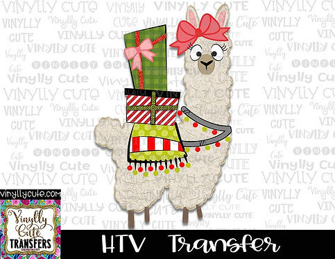 Christmas Alpaca With Gifts ~ HTV Transfer