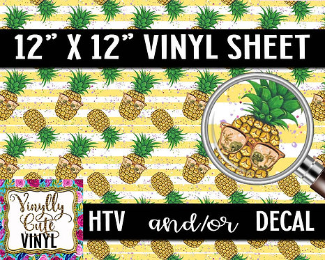 Pineapple Stripe Vinyl ~ HTV or ADHESIVE DECAL