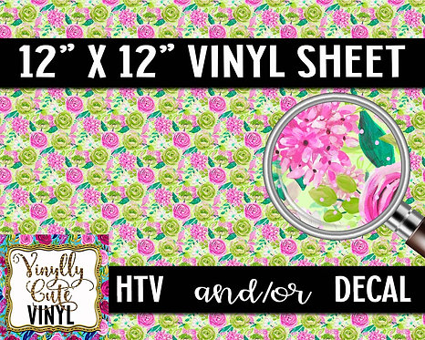 Pink Lime Floral ~ HTV or ADHESIVE DECAL