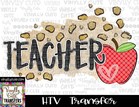 Leopard Teacher With Apple ~ HTV Transfer ~ Back To School