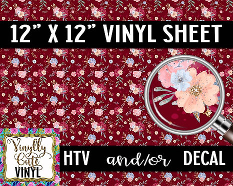 Red Floral Vinyl ~ HTV or ADHESIVE DECAL