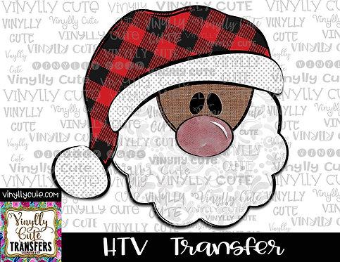 Santa With Buffalo Plaid Hat 2 ~ HTV Transfer ~ Christmas