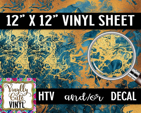 Blue Gold Marble Vinyl ~ HTV or ADHESIVE DECAL