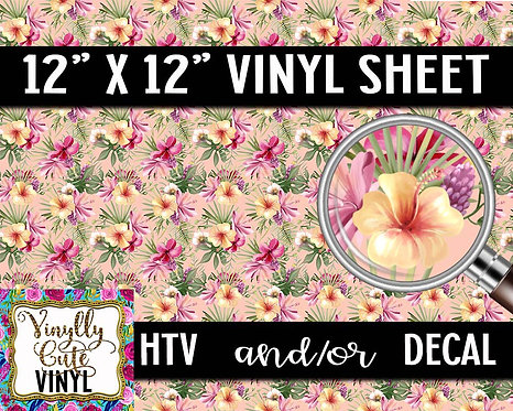 Tropical Hibiscus Vinyl ~ HTV or ADHESIVE DECAL