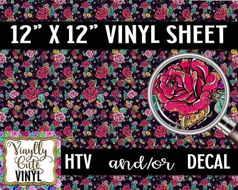 Glitter Rose Vinyl ~ HTV or ADHESIVE DECAL