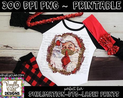 DIGITAL -  Leopard Masked Vintage Santa