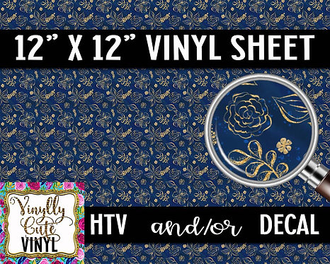 Navy and Gold Floral Vinyl ~ HTV or ADHESIVE DECAL