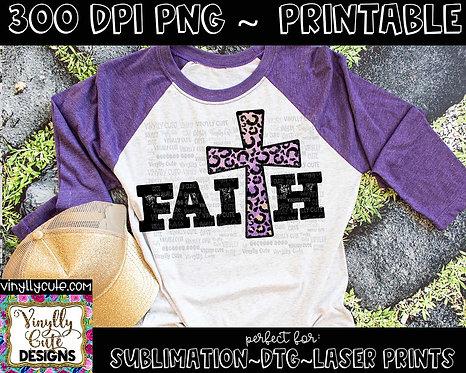 DIGITAL - Faith Cross - Purple Leopard