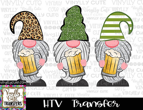 Gnome Trio With Beer ~ HTV Transfer ~ St. Patrick's Day