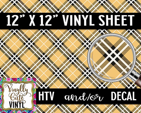 Golden Plaid Vinyl ~ HTV or ADHESIVE DECAL