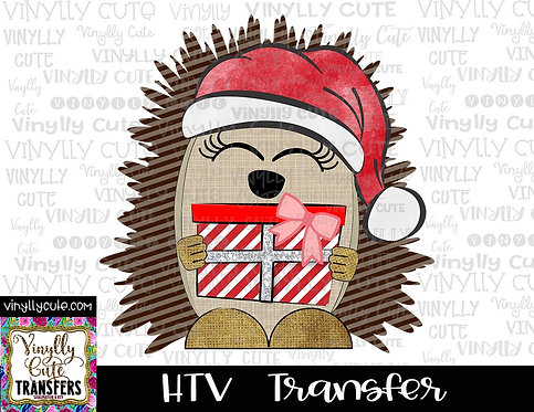 Hedgehog with Santa Hat and Gift ~ HTV Transfer ~ Christmas