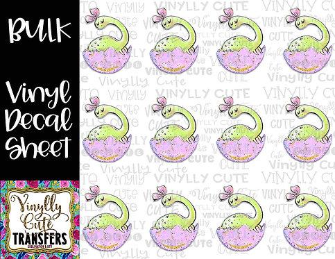 BULK ~ Girly Green Dino In Egg With Bow ~ Vinyl Decal Sticker Sheet