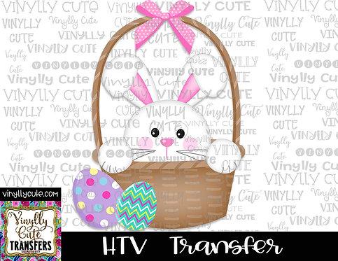 Easter Bunny Girl In Basket ~ HTV Transfer