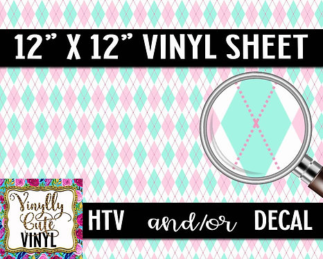 Pastel Argyle Vinyl ~ HTV or ADHESIVE DECAL