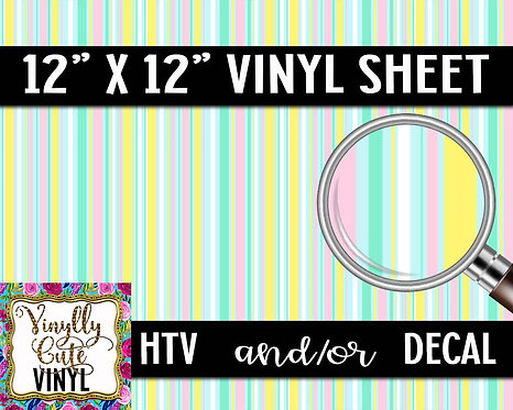 Pastel Stripe Vinyl ~ HTV or ADHESIVE DECAL