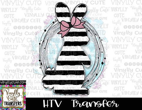 Black Stripe Bunny ~ HTV Transfer ~ Easter
