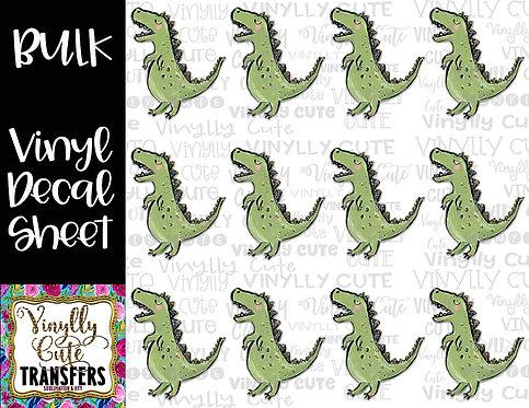 BULK ~ Green Dino T-Rex ~ Vinyl Decal Sticker Sheet ~ Dinosaur