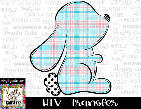 Pink And Blue Plaid Bunny Silhouette ~ HTV Transfer ~ Easter