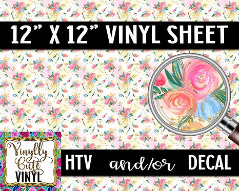 Summer Rose Vinyl ~ HTV or ADHESIVE DECAL
