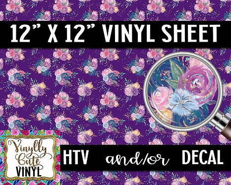 Purple Floral Vinyl ~ HTV or ADHESIVE DECAL