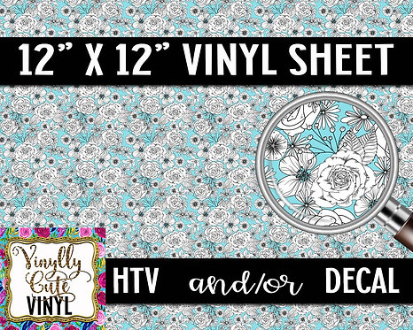 White Flowers Vinyl ~ HTV or ADHESIVE DECAL
