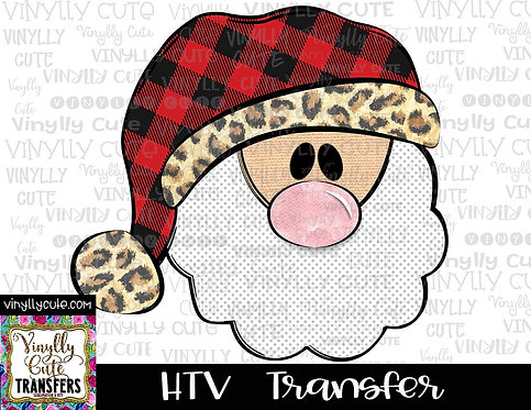 Santa With Buffalo Plaid and Leopard Trim Hat ~ HTV Transfer ~ Christmas