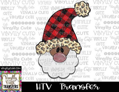 Tall Santa With Buffalo Plaid and Leopard Trim Hat 2 ~ HTV Transfer ~ Christmas