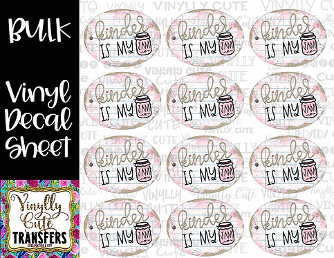 BULK ~ Kinder Jam ~ Vinyl Decal Sticker Sheet