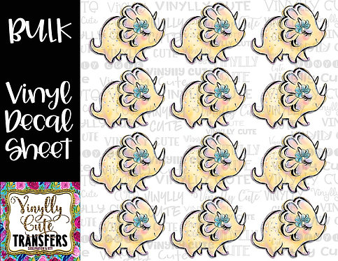 BULK ~ Girly Yellow Dino With Bow ~ Vinyl Decal Sticker Sheet ~ Dinosaur